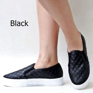 New Black Quilted Slip On Platform Sneakers